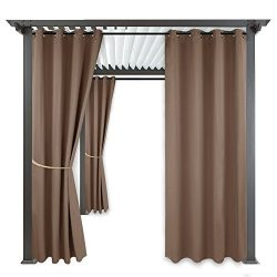 RYB HOME Outdoor Patio Curtains – Gazebo Window Shade Blind Water Repellent Exterior Reduc ...