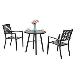 PHI VILLA Outdoor Patio Metal 3 Piece Bistro Furniture Set 2 x Chair,1 x Table