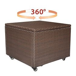 Babylon Resin Wicker Indoor Outdoor Storage Container Bin, Backyard Garden Storage Box with Lock ...