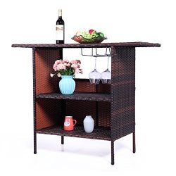 LAZYMOON Outdoor Square Brown Rattan Wicker Bar Counter Table Garden Coffee Table Shelves Storage