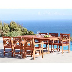 Vifah V1294SET15 7 Piece Renaissance Outdoor Wood Patio Dining Set