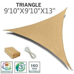 """SUNNY GUARD 9'10"""" x 9'10"""" x 13′ Sand Triangle Sun Shade Sail UV Bl ..."""