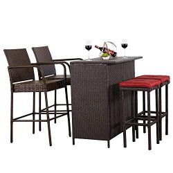 Cloud Mountain 5 PC Patio Bar Set Outdoor Wicker Rattan Bar Stool Dining Sets Patio Furniture Ga ...