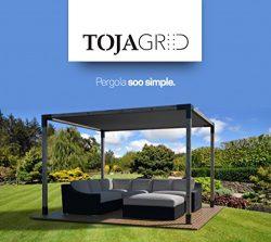 Toja Grid Pergola Kit – Easy Assembly Pergola with Shade Sail (10×10, Matt Black)