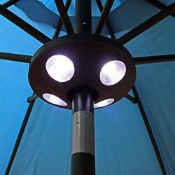 Sunnydaze Outdoor Patio Umbrella Lights, 4-Panel Cordless 24 LED, Battery Operated Pole and Camp ...