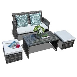 Orange Casual 4 Pieces Outdoor Wicker Loveseat Sofa Furniture Set with Ottoman & Glass Coffe ...