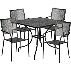 """Flash Furniture 35.5"""" Square Black Indoor-Outdoor Steel Patio Table Set with 4 Square Back ..."""