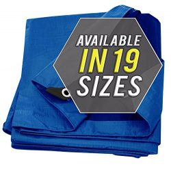 Tarp Cover Blue, Heavy Duty 10'x12′ Waterproof, Great for Tarpaulin Canopy Tent, Boa ...