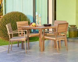 Suncrown Outdoor Steel Imitation Wood Square Dining Set (5-Piece Set) All Weather Steel Powder C ...
