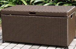 Home Improvements Espresso Brown Resin Wicker Outdoor Storage Box Deck Box Storage Patio Coffee  ...