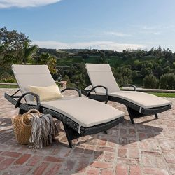 Olivia Patio Furniturre ~ Outdoor Wicker Chaise Lounge Chair with Arms w/ Water Resistant Cushio ...