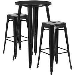 "Flash Furniture 24"" Round Black Metal Indoor-Outdoor Bar Table Set with 2 Square Seat Back ..."