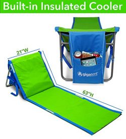 GigaTent Portable Beach Lounge Chair Mat with Insulated Cooler and Storage Pocket – Lightw ...
