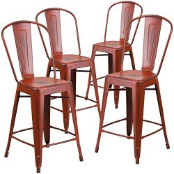 "Flash Furniture 4 Pk. 24"" High Distressed Kelly Red Metal Indoor-Outdoor Counter Height St ..."