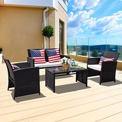 PATIOROMA 4 Piece Patio Conversation Set, Rattan Sectional Furniture Set with Seat Cushions, Out ...
