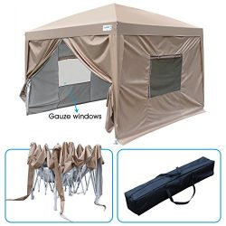 Quictent Upgraded Privacy 8×8 EZ Pop Up Canopy Tent Instant Canopy with 4 Sidewalls and Mes ...