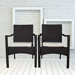 Outdoor Indoor Dining Chairs Match Dining Tables Patio Rattan Chair Wicker Garden Chairs Set of  ...