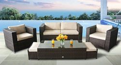 StellaHome Patio Furniture Sets 6Pcs Outdoor Sectional Conversation Wicker Sofa Set Cushion Seat ...