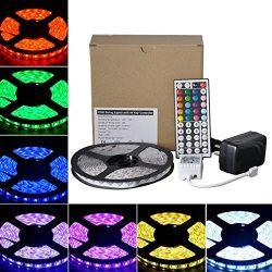 LED Strip Lights,RGB 5M(16.4Ft),150 LEDs,12V,Waterproof Flexible Rope Lighting with 44key IR Rem ...