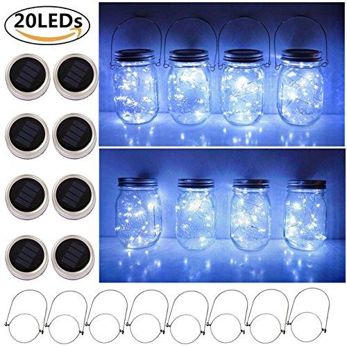Solar Mason Jar Lid String Lights 8 Pack 20 Led String