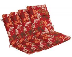 Bossima Indoor/Outdoor Red/Brown Floral High Back Chair Cushion, Set of 4,Spring/Summer Seasonal ...