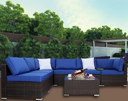Leaptime Outdoor Furniture Patio Sofa 7pcs Garden Couch Brown Rattan Sofa Set Royal Blue Cushion ...