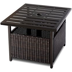 Giantex Patio Rattan Wicker Umbrella Side Table Stand with Umbrella Hole Steel Outdoor Deck Gard ...