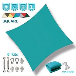 Coarbor 10′ x 10′ Square Turquoise Green UV Block Sun Shade Sail with Stainless Stee ...