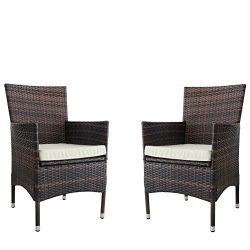 Kosycosy 2 Pieces Patio Porch Furniture Set PE Rattan Wicker Chairs with Beige Cushions Outdoor  ...