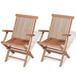 Festnight Set of 2 Teak Wood Folding Dining Chairs with Arm Rest Outdoor Patio Garden Yard Foldi ...