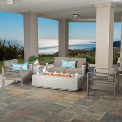 Crested Bay Patio Furniture ~ Outdoor Aluminum Sectional Sofa Set Light Grey Fire Table (Khaki L ...