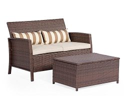 Solaura 2-Piece Outdoor Furniture Brown Wicker Loveseat Light Brown Cushions & Coffee Table  ...