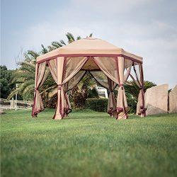Peach Tree 11.8' x 10.8' Outdoor Patio Iron Gazebo Canopy Garden Backyard Tent with Mesh Side Wa ...