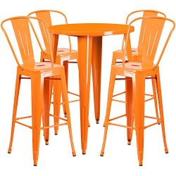 "Flash Furniture 30"" Round Orange Metal Indoor-Outdoor Bar Table Set with 4 Cafe Stools"