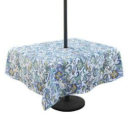 Lamberia Outdoor Tablecloth with Umbrella Hole, Water and Stain Resistant, Vinyl Fabric Umbrella ...