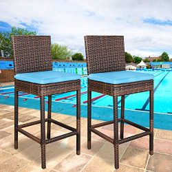 ZENY Set of 2 Wicker Barstool All Weather Dining Chairs Outdoor Patio Furniture Bar Stool Brown  ...