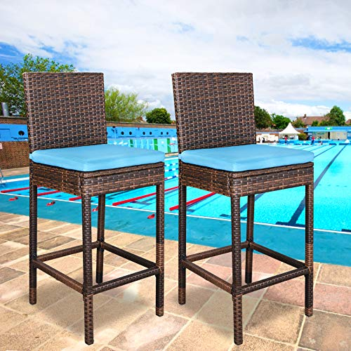Zeny Set Of 2 Wicker Barstool All Weather Dining Chairs