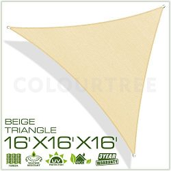 ColourTree 2nd Gen 16′ x 16′ x 16′ Beige Sun Shade Sail Triangle Canopy – UV R ...