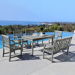 Vifah V144SET37 7 Piece Malibu Outdoor Wood Patio Dining Set