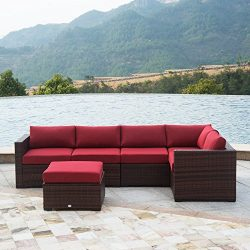 AURO Outdoor Furniture 6-Piece Sectional Sofa Set All-Weather Brown Wicker with Water Resistant  ...