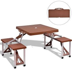 DUSTNIE Outdoor Camping Portable Picnic Table – Attached Bench Patio Garden Backyard Front ...
