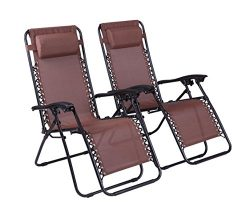 Naomi Home Zero Gravity Chairs Brown/Set of 2