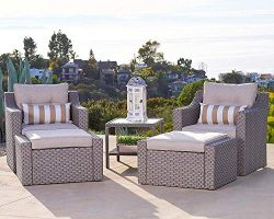 Solaura 5-Piece Outdoor Furniture Set Grey Wicker Lounge Chair & Ottoman with Neutral Beige  ...