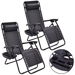 NEW 2PC Zero Gravity Chairs Lounge Patio Folding Recliner Outdoor Black W/Cup Holder