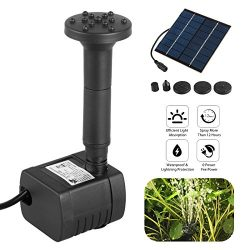 1.2W Solar Fountain Free Standing Floating, EEEkit Submersible Solar Water Pump with 4 Sprinkler ...