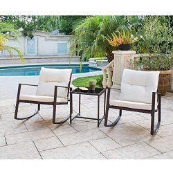 Solaura Outdoor Furniture 3-Piece Bistro Set Brown Wicker Patio Rocking Chairs with Beige Cushio ...