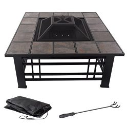 Pure Garden Fire Pit Set, Wood Burning Pit – Includes Spark Screen and Log Poker – G ...
