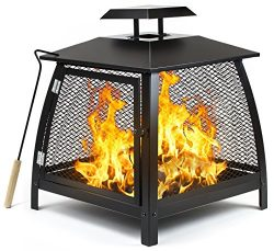 Sorbus Fire Pit Basket with Door and Poker Tool, Outdoor Fire Place Pit Brazier for Patio Heatin ...