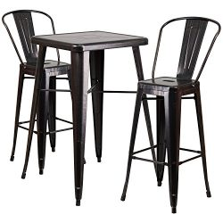 "Flash Furniture 23.75"" Square Black-Antique Gold Metal Indoor-Outdoor Bar Table Set with 2 ..."