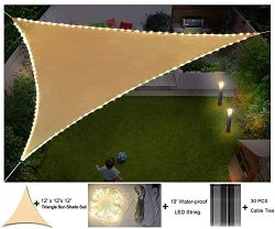 diig Flashing LED Lights with Sun Shade sail 12x12x12 Triangle Waterproof String Canopy Sand Dur ...